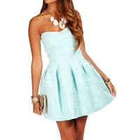 Mint Rubber Band Texture Skater Dress