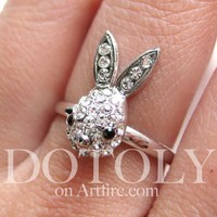 Adjustable Rhinestone Bunny Rabbit Animal Pet Ring