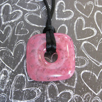 Pink Necklace, Fused Glass Jewelry, Square  - Pink Passion - 4349 -1