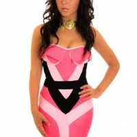 Pink Geometric Strapless Bandage Dress