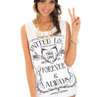 White Sleeveless Tank with Black Print Front