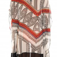 Red Multi Color Aztec Print Kaftan with Fringe Detail