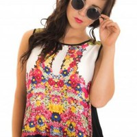 Floral Print Sleeveless Top with Black Cross Over Back