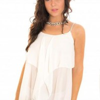 White Sleeveless Frill Top with Diamante Jewel Straps
