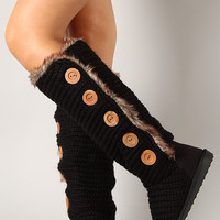 Qupid Rascal-04 Fur Knit Sweater Button Knee High Boot