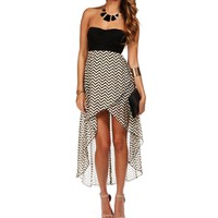 Khaki Chevron Hi Lo Homecoming Dress
