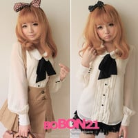BOBON21 classic wild Japanese Institute of wind doll collar chiffon long-sleeved shirt cute attached bow tie T0435-Taobao