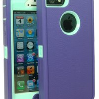Iphone 5 Body Armor Case Purple on Baby Blue Teal Comparable to Otterbox Defender Series + Bonus Cube Charger and Breast Cancer Awareness Silicone Bracelet