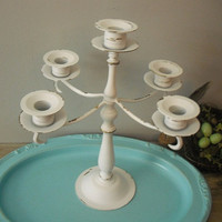 vintage upcycled WHITE 5 arm Candelabra .. Wedding shabby chic Romantic cottage