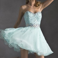 Beaded Strapless Chiffon Dress