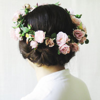 Flower Crown, Pink Rose Circlet, Large Floral Halo, Statement Headpiece, Woodland Wedding Hair Accessories, Midsummer Night's Dream, OOAK