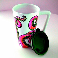 Ceramic Travel Mug with handle Pink Octopus Eco Friendly sea creature tentacles kraken white black 16 oz