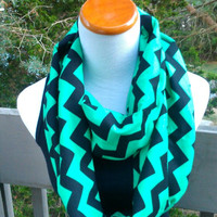 Emerald chevron infinity-Green and Black scarf