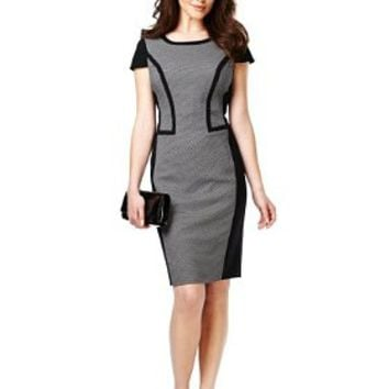 Petite Tipped Colour Block Spotted Dress