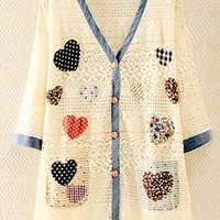 Lace Cardigan with Heart Shape Patch ILN541
