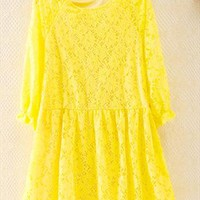 Yellow Lace Flower Blouse Yellow RSX653 from topsales