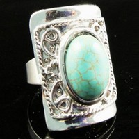 Vintage Turquoise Blue Gemstone European Adjustable Ring
