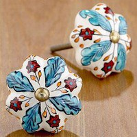Floral Ceramic Knobs, Blue/Red, Set of 4  - Knobs - Cost Plus World Market