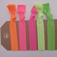 5 Elastic NEON HAIR TIES, Neon Green Lime Pink Orange Hair accessories, ponytail