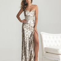 Light Gold Sequin Sweetheart Rhinestone Empire Waist Prom Dress - Unique Vintage - Prom dresses, retro dresses, retro swimsuits.