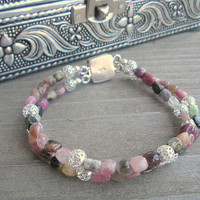 Watermelon Tourmaline And Sterling Silver Bracelet, Double Strand Watermelon Tourmaline And Sterling Bracelet