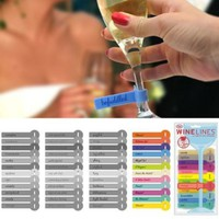 Wine Lines Waterproof Colorful Drink Tag Markers for Parties, Comments for Tasting