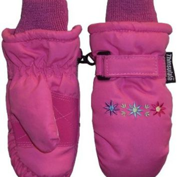 N'ice Caps Tm 4-7yrs Girls Mitten Thinsulate Waterproof with Embroidery