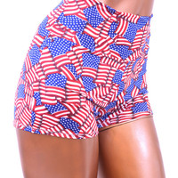 Patriotic Stars & Stripes High Waist Pinup Shorts in American Flag Print -E6989