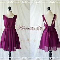 A Party Dress V Shape - Cocktail Dress Wedding Bridesmaid Dress Party Prom Dress Backless Dress Homecoming Wine Dress