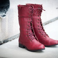 Bumper Freda-03X Plaid Cuff Lace Up Boot (Burgundy) - Shoes 4 U Las Vegas