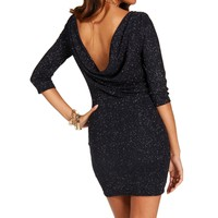 Navy Cowl Back Glitter Dresses