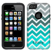 Otterbox Commuter Series Chevron Grey Green Turquoise Pattern Hybrid Case for iPhone 5