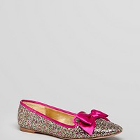 kate spade new york Pointed Toe Smoking Flats - Audrina Glitter Bow | Bloomingdale's