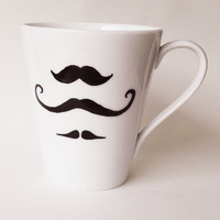 Hand painted mustache mug by PaintMyName on Etsy