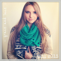 Nellie Knit Scarf - EMERALD - open weave knit scarf with button closure infinity scarf - chunky scarf - knit infinity scarf - button scarf