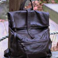 Square Shape Leather Backpack - Dark Brown