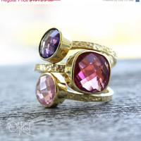 SALE Gemstone Rings  Red Ruby Quartz Purple Amethyst by OhKuol