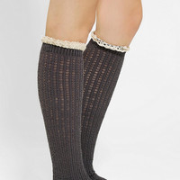 Crochet Lace-Cuff Knee-High Sock