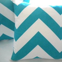 Turquoise wide chevron pillow cover