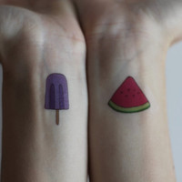 Summer Temporary Tattoos (Popsicle and Watermelon)