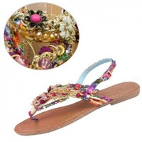 Fancasen 2013 New Style Sandals Pearl Diamond Ethnic Wind Fashion Foreign Trade Lady Girls Shoes:Amazon:Shoes