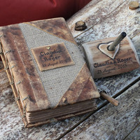 Wedding guest book Pen Holder rustic wood