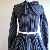 1950s Dress - Vintage 50s Dress - Black White Pinstripe Shirtwaist Cotton S M - Where the Boys Are