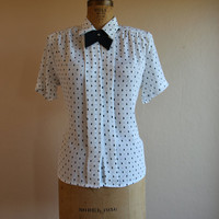1980s Top - Vintage 80s Black White Polka Dots Necktie Rhinestone L - Dot the Dot