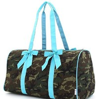 Turqoiuse Blue Quilted Camoflage Large Duffle Bag