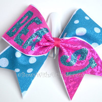"3"" Wide Luxury Cheer Bow - Pink / Aqua Beast Bow"
