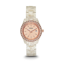 ES2864 - STELLA MINI THREE HAND RESIN WATCH - PEARLIZED WHITE WITH ROSE