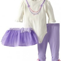 Hartstrings Baby-girls Newborn Body Suit with Legging and Tulle Skirt 3 Piece Set, Marshmallow, 6-9 Months