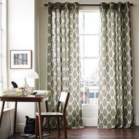 Ikat Ogee Linen Window Panel | west elm