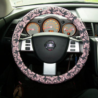 Pink and Grey Damask Steering Wheel Cover